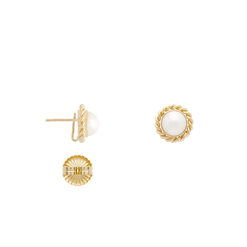 18k Small Stud Pearl Earrings with Gold Rim
