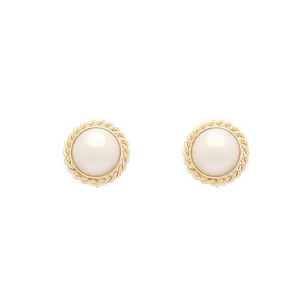 18k White and Gold Large Pearl Earrings