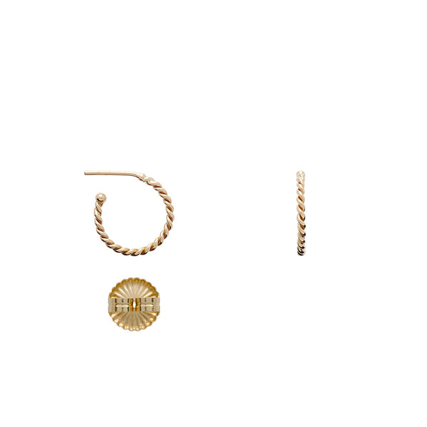 18K Mini Twisted Hoop Earrings