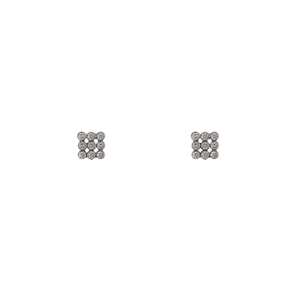 14K White Gold Mini Marquee Diamond Earrings