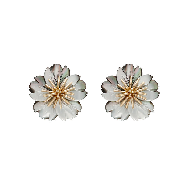 Gray Wildflower Earrings