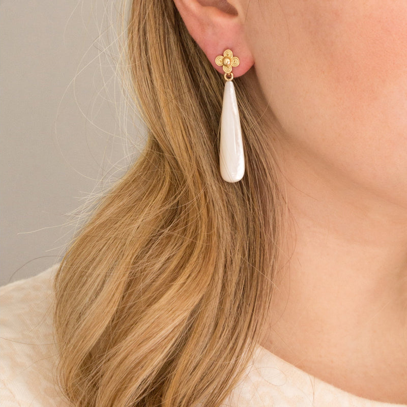 Mother of Pearl Long Gray Earring Drops