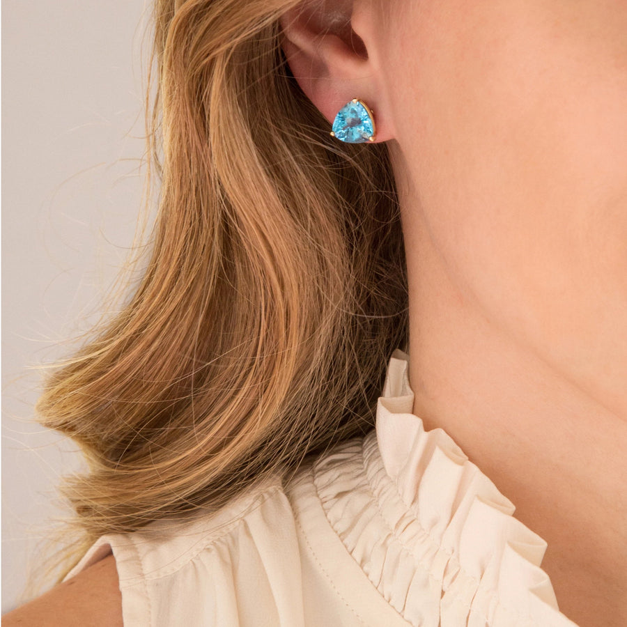 Trillion Cut Blue Topaz Earrings