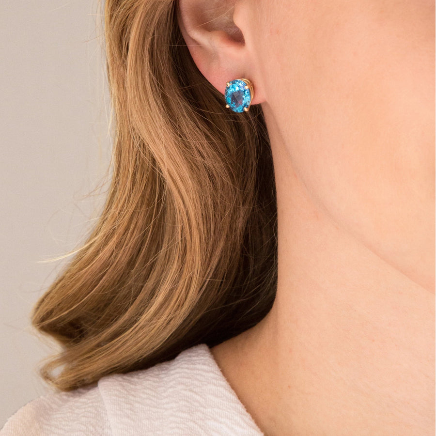Lumiere Swiss Blue Topaz Oval Earrings