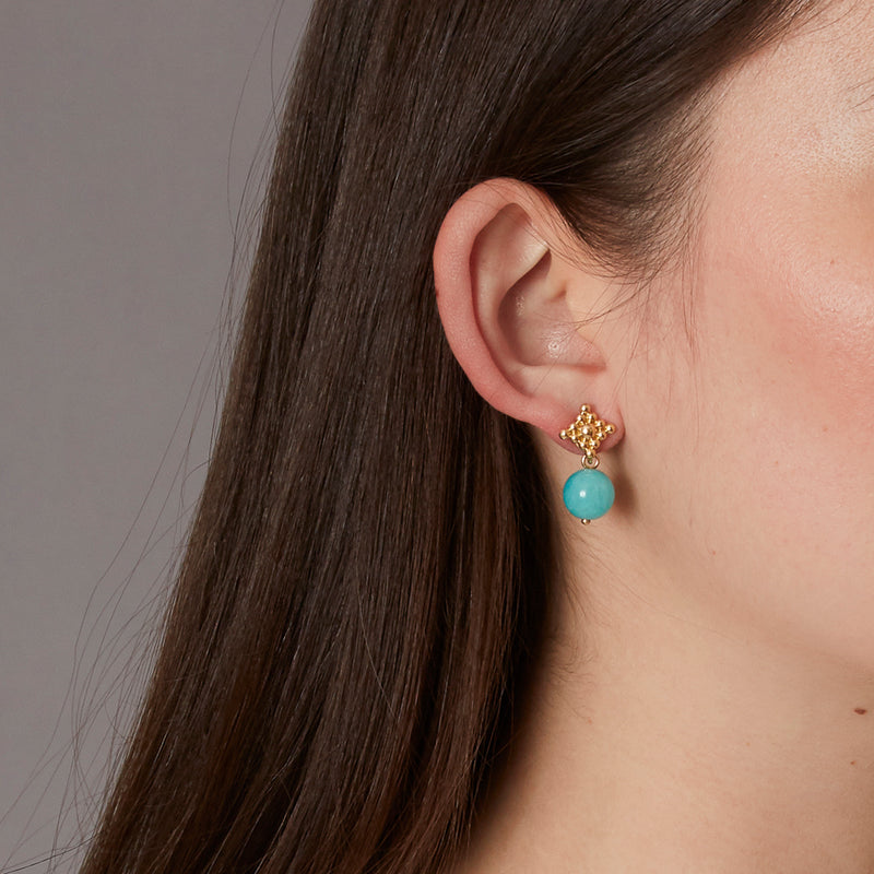 Victoire Amazonite 11mm Earring Drops