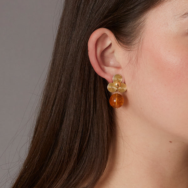 Victoire Citrine 14mm Earring Drops