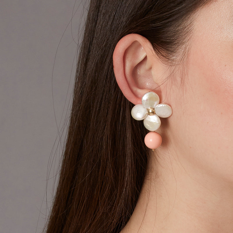 Victoire Peach 12mm Earring Drops