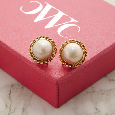 18K Large Pearl Earrings