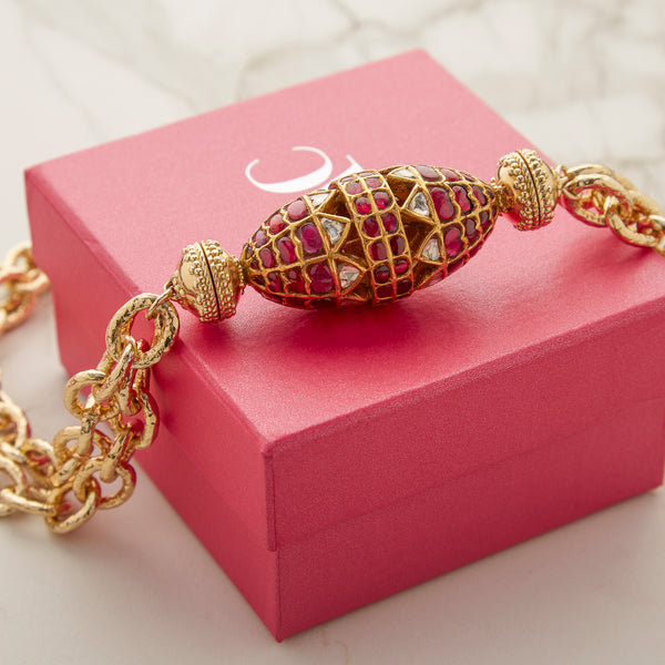 22K Kundan Ruby Studded Centerpiece