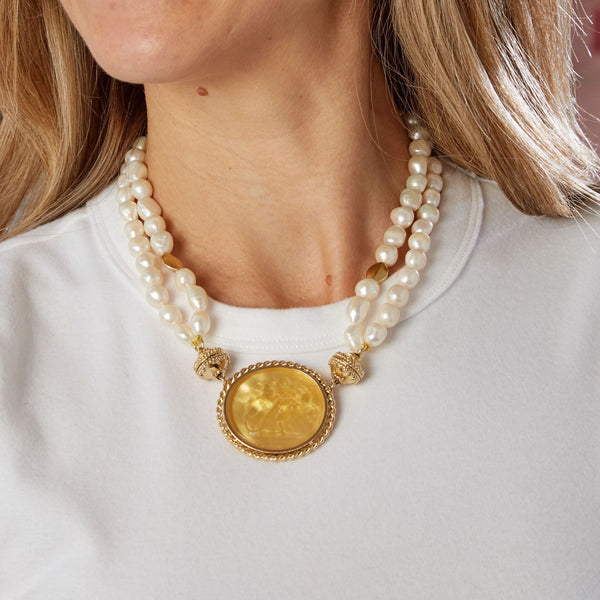 Gold Rush Pearl Double Strand Necklace