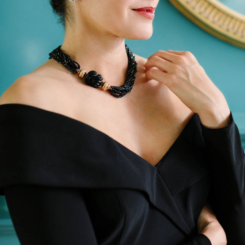 Michel Black Spinel Multi Strand Necklace