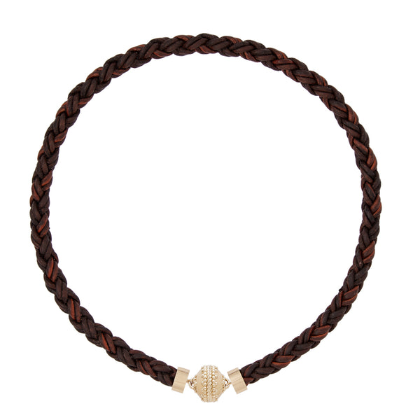 Bolo Antique Brown Leather Necklace