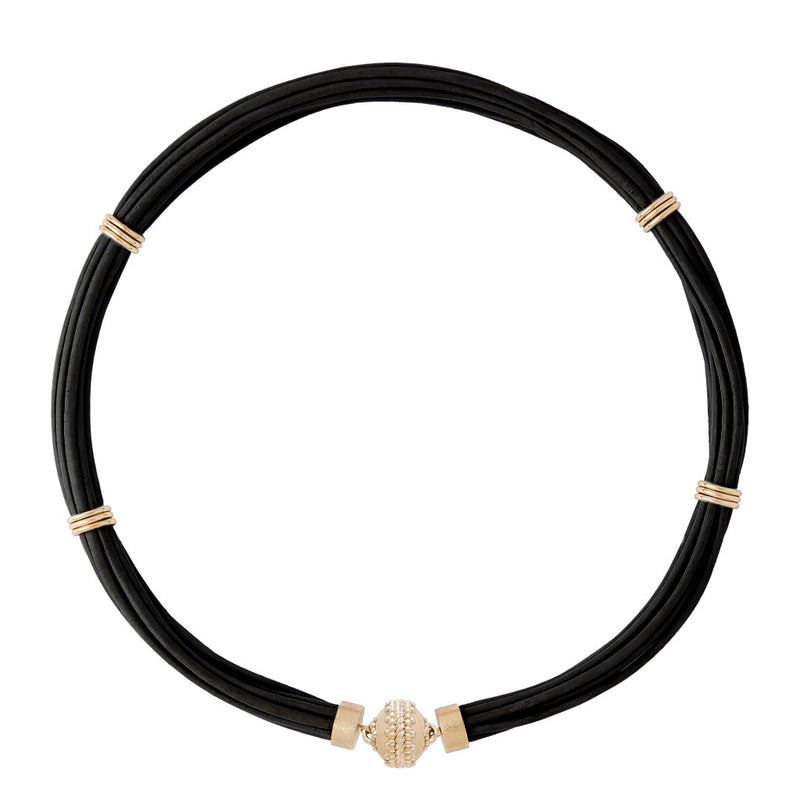 Aspen Leather Black Necklace