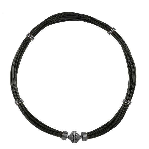 Aspen Leather Black Gunmetal Necklace