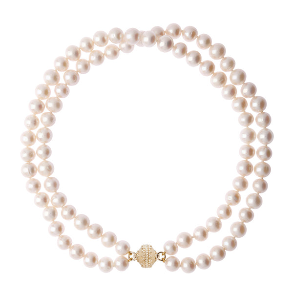 Classic Pearl Double Strand Necklace