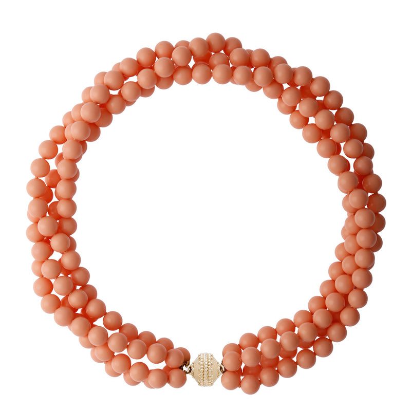 Victoire Coral 8MM Double Strand Necklace