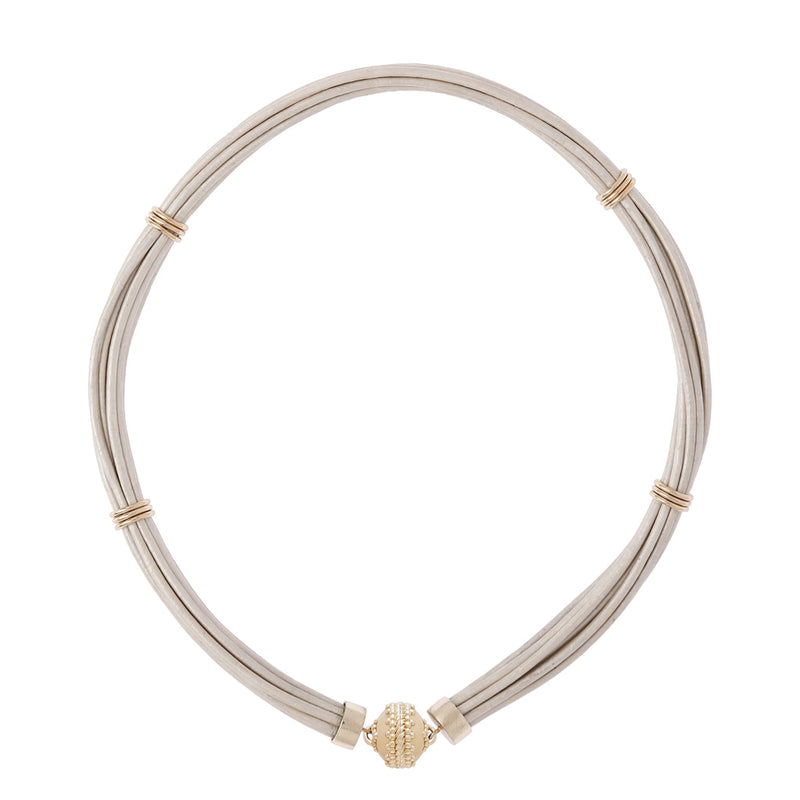 Aspen Leather White Pearl Necklace