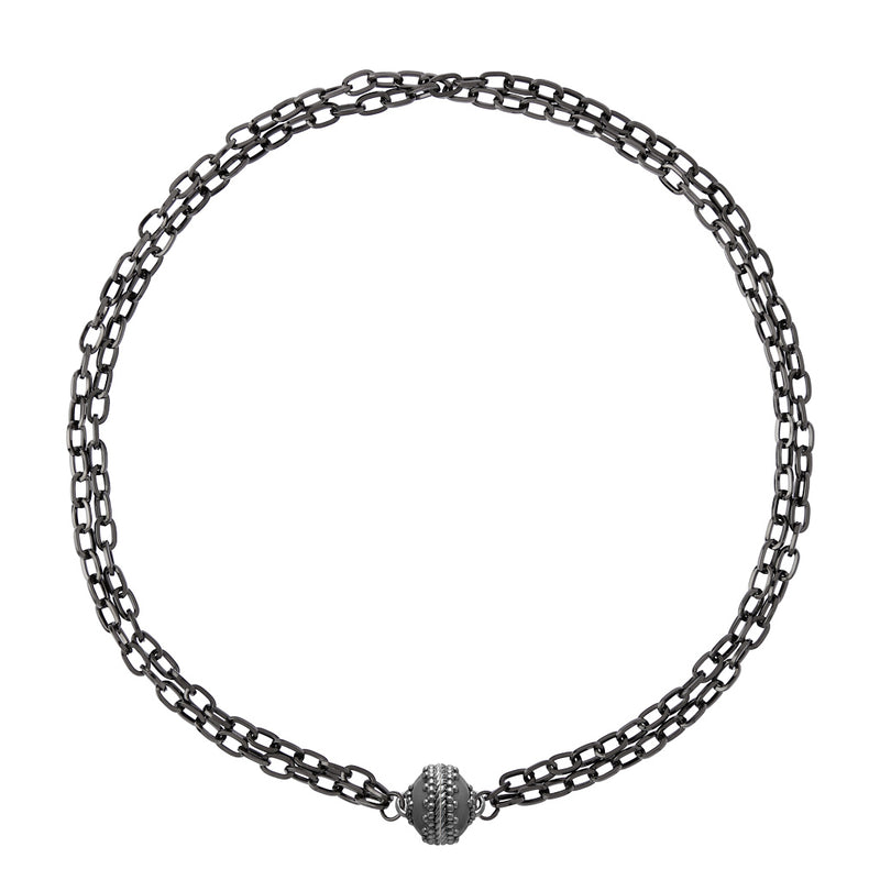 Addison Double Strand Gunmetal Necklace