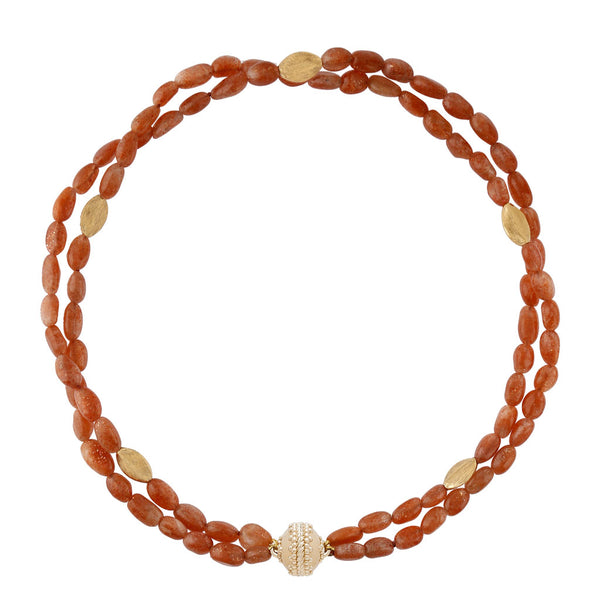 Gold Rush Sunstone Double-Strand Necklace