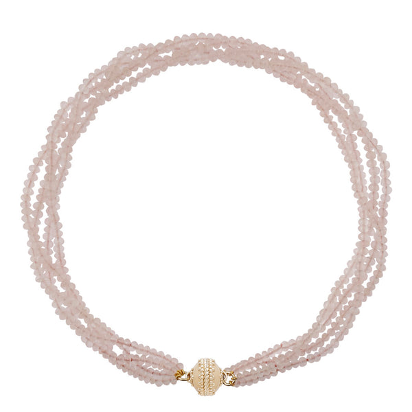 Rose Quartz Rhondelle Multi Strand  Necklace