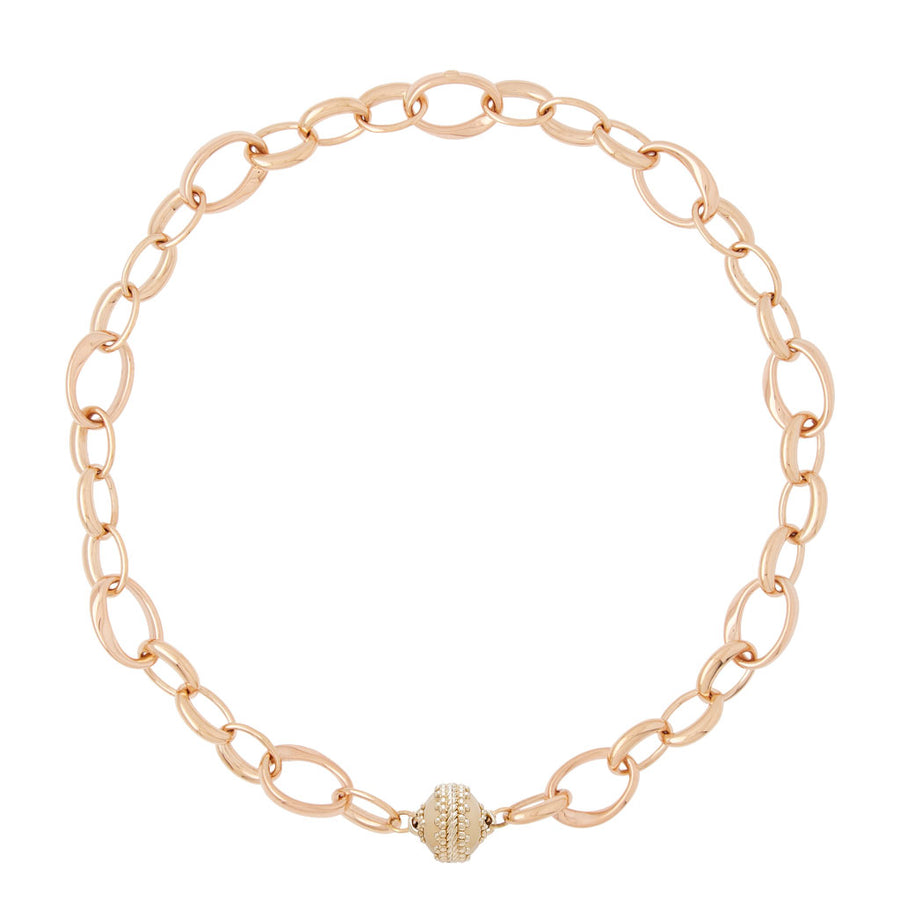 18k Rose Gold Twist Oval Necklace