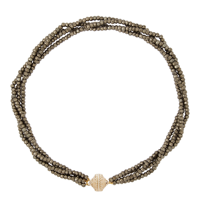 Michel Faceted Pyrite Multi Strand Necklace