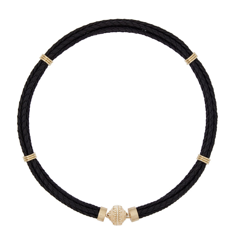 Aspen Braided Leather Black Necklace
