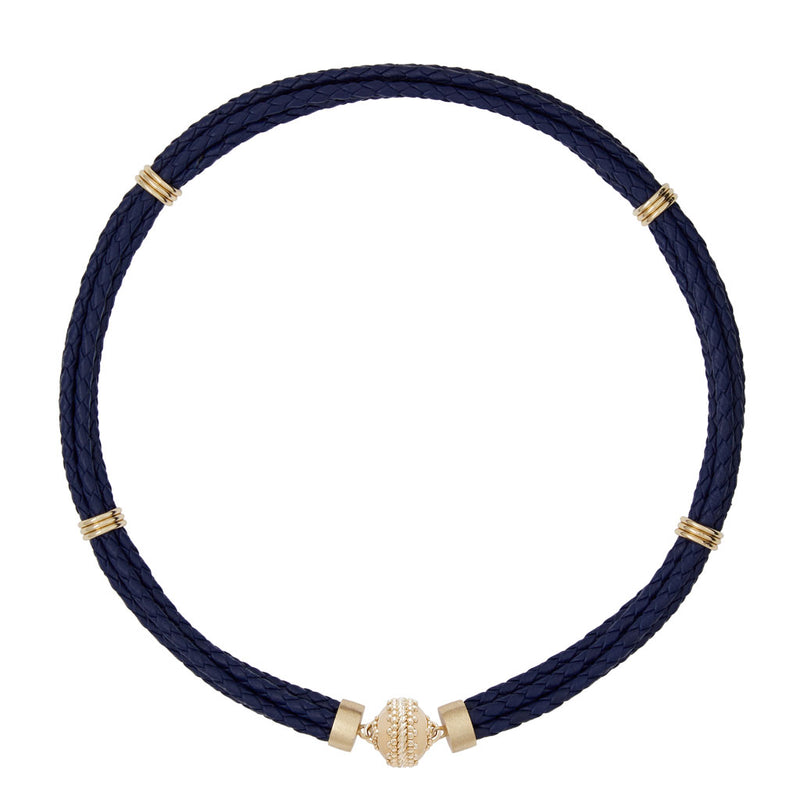 Aspen Braided Leather Navy Necklace