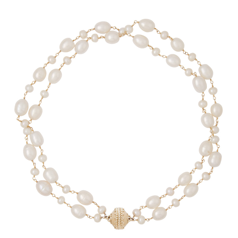 Caspian Pearl Double Strand Necklace