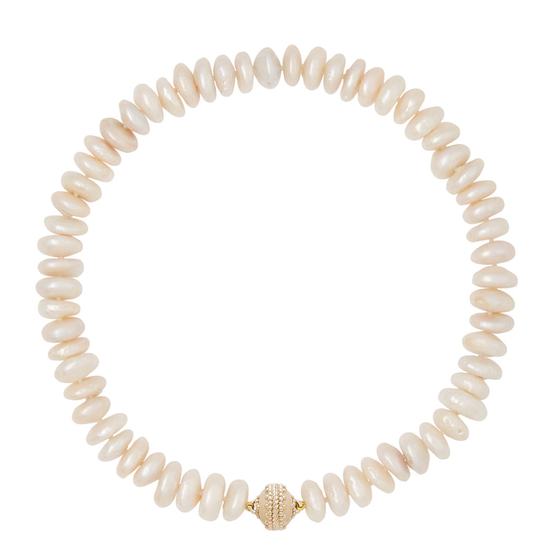 Rondelle Coin Pearl Necklace