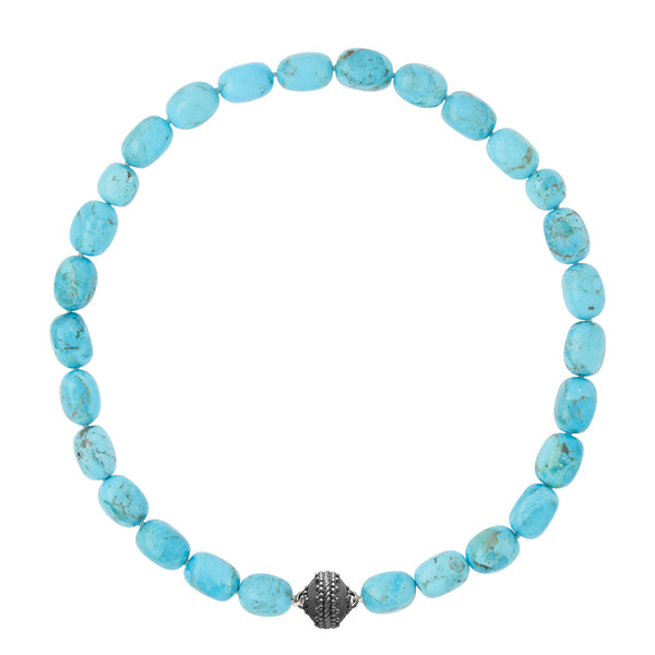 Kingman Turquoise Gunmetal Necklace