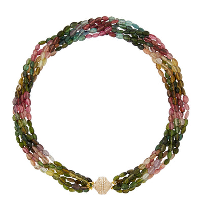 Nancy Watermelon Tourmaline 6 Strand Necklace