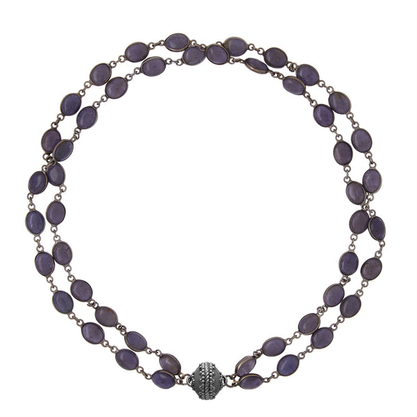 Tanzanite Double Strand Gunmetal Necklace