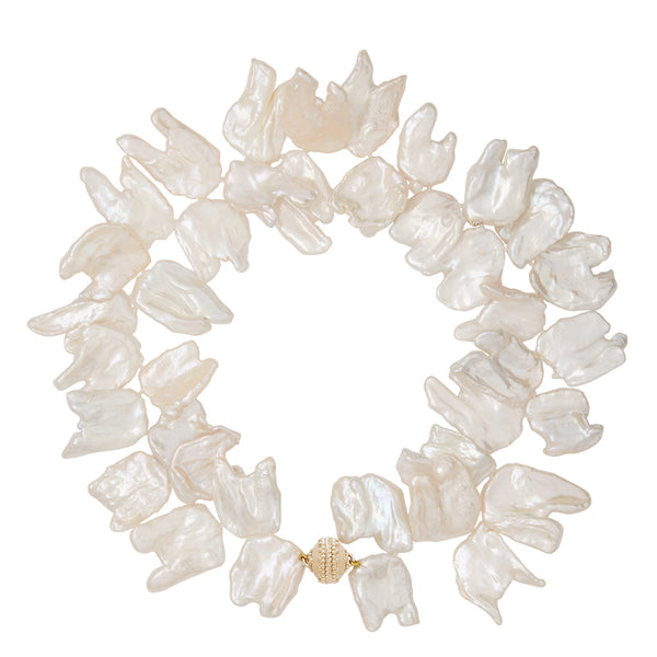 Large White Keshi Pearl Necklace