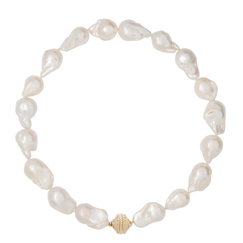 Lustrous White Baroque Pearl Necklace