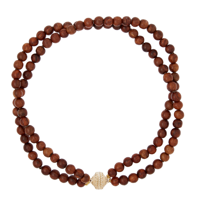 Victoire Teak Wood 8mm Double Strand Necklace
