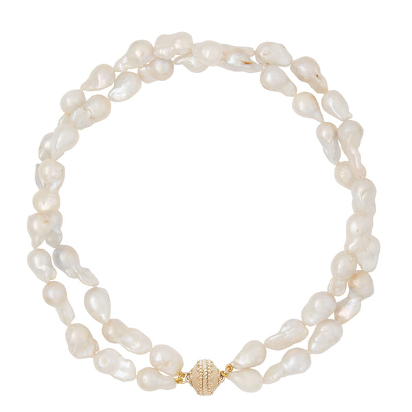 White Baroque Pearl Double Strand Necklace