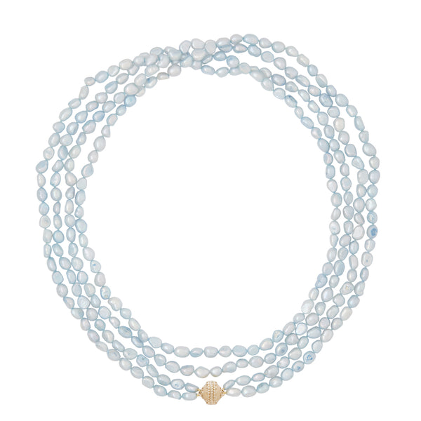 Irregular Blue Pearl Opera Necklace