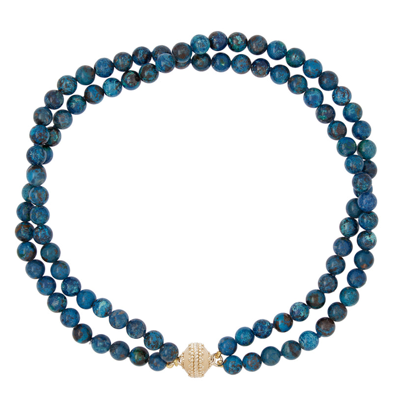 Victoire Chrysocola 8mm Double Strand Necklace
