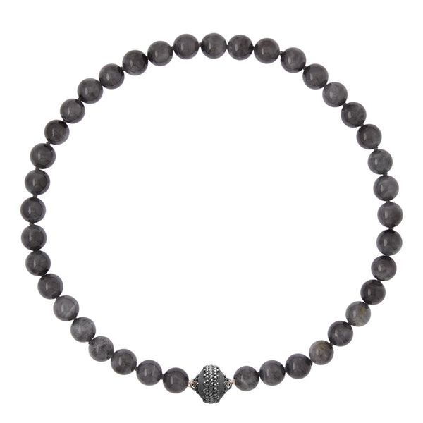 Victoire Black Jade 10mm Gunmetal Necklace