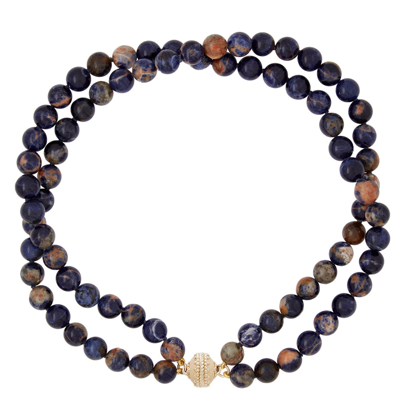 Victoire Orange and Blue Sodalite 10mm Double Strand Necklace