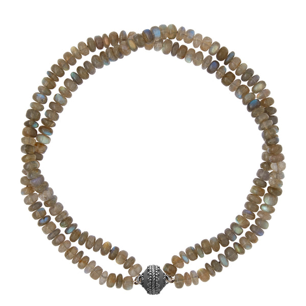 Labradorite Rondelle Double Strand Gunmetal Necklace