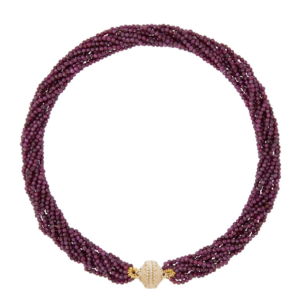 Michel Ruby Faceted Rhondelle Multi Strand Necklace