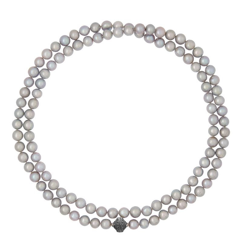 Gray Pearl Opera Gunmetal Necklace