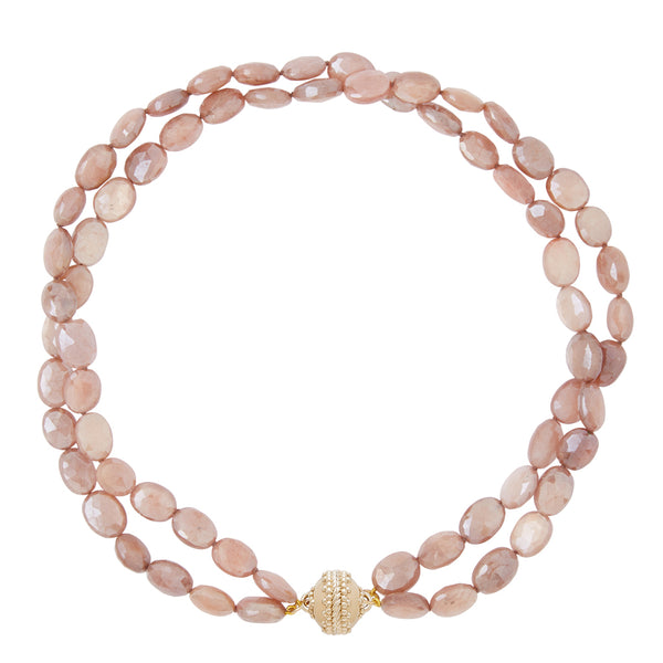 Nancy Peach Coated Moonstone Double Strand Necklace