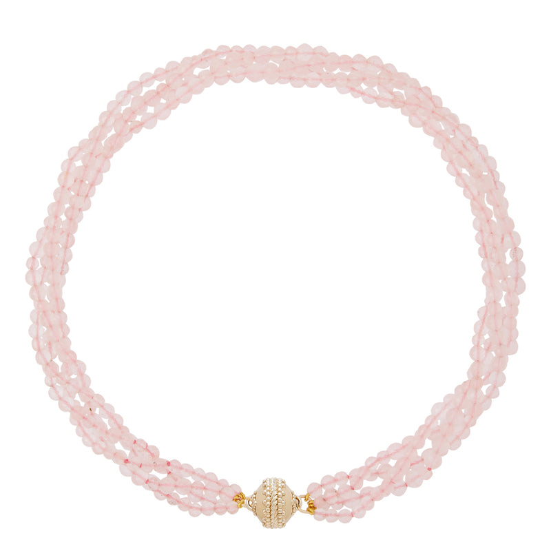 Rose Quartz Faceted Rondelle Multi Strand Necklace
