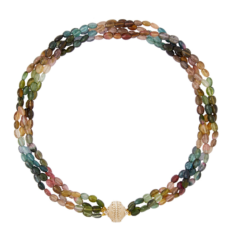 Nancy Multi Color Tourmaline 4 Strand Necklace
