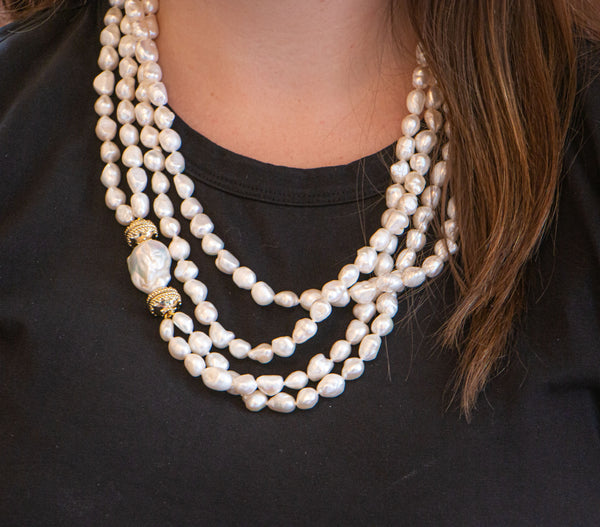 Irregular White Pearl Opera Necklace