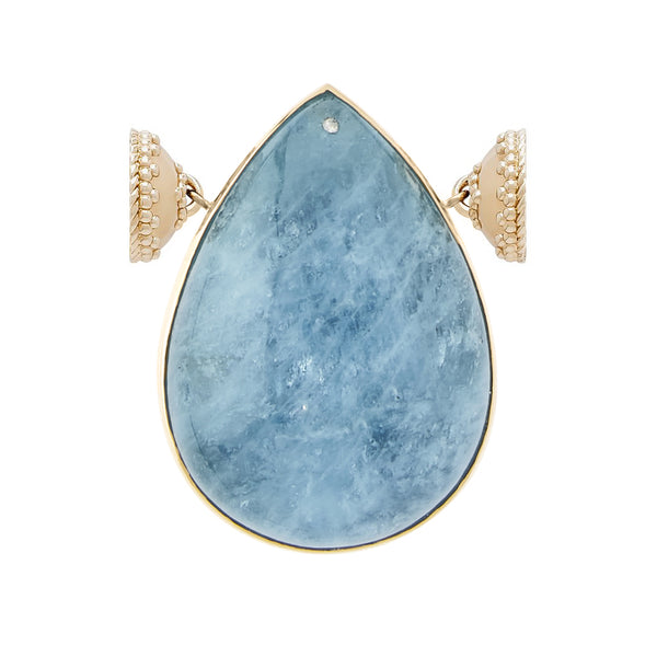 18k Sky Blue Aquamarine Teardrop Centerpiece with Signature Gold Magnetic Clasps