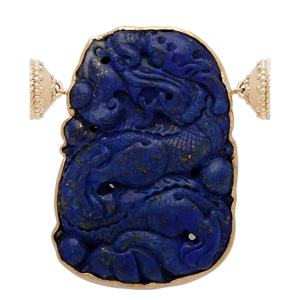 18k Small Dark Blue Lapis Dragon Centerpiece